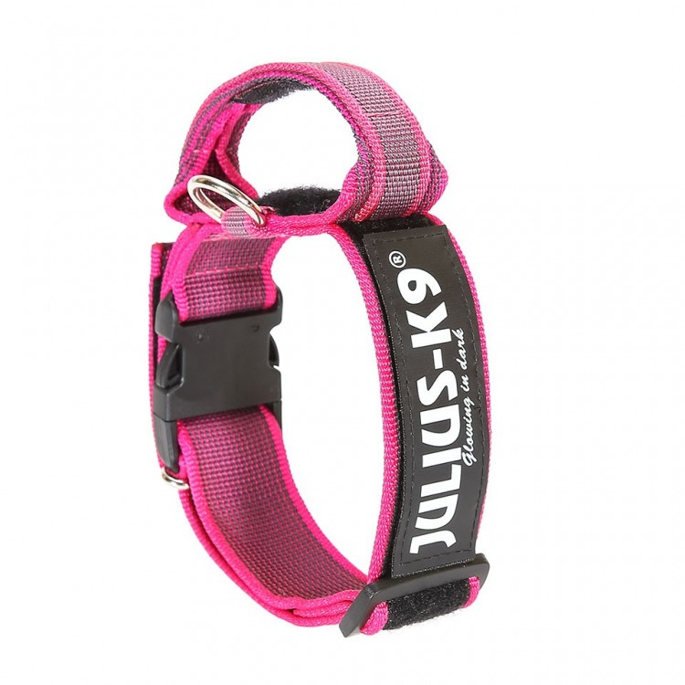 K9 - Color+Gray, Halsband mit Griff, 40mm pink
