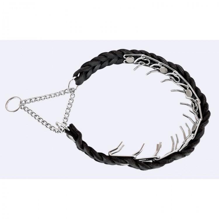 Klin - Stachelhalsband geflochten mit Zugkette