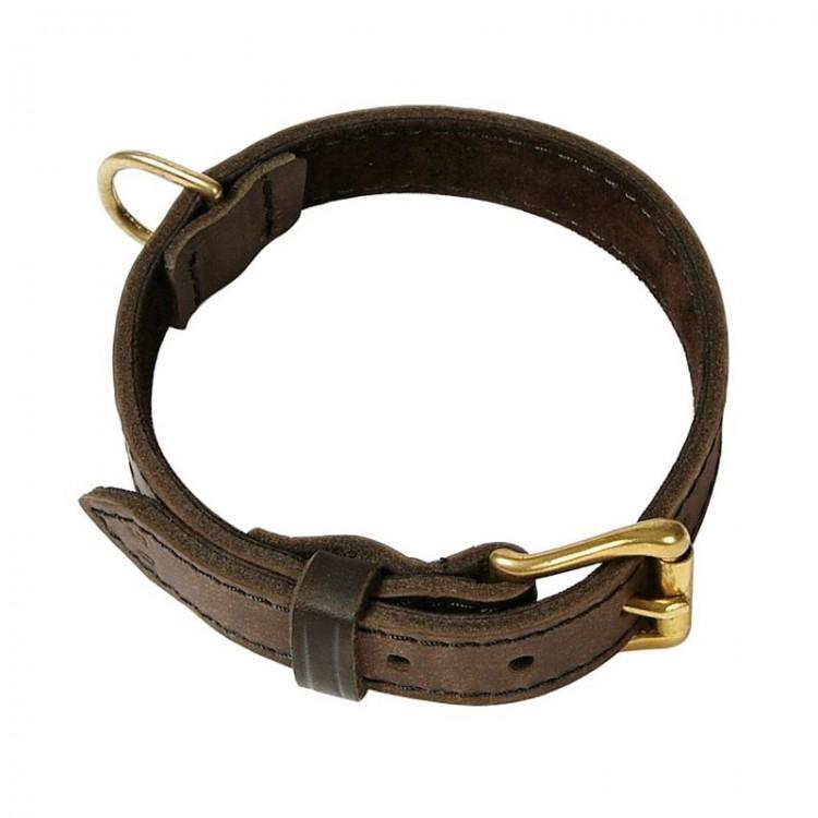 Klin - Fettleder-Halsband braun unterlegt